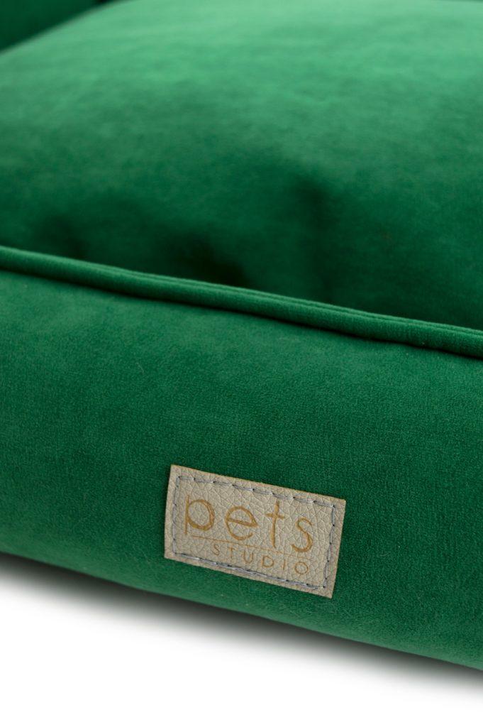 Kissen mit Rand Grün Velours
