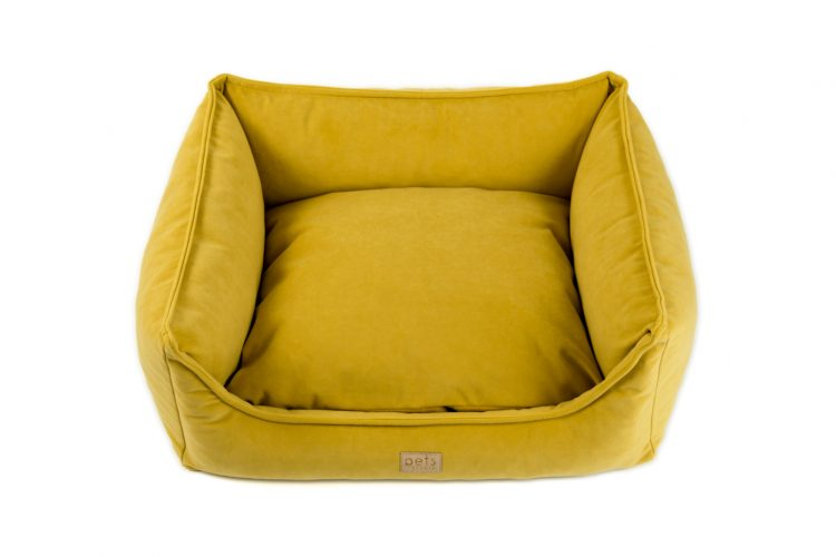 Kissen mit Rand Gelb Velours